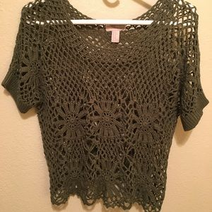 Forever21 bohemian crochet khaki top